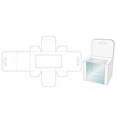 Toy packaging box with 3 window die cut template vector