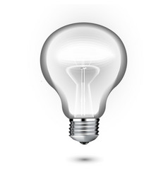 transparent realistic glowing light bulb vector image