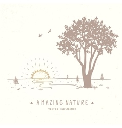 tree silhouette nature vector image