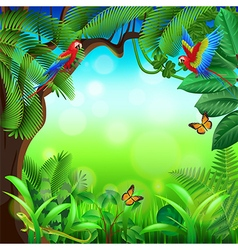 Tropical jungle with animals background vector