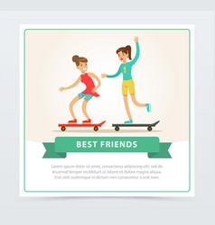 Two female friends skateboarding best friends vector