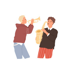 Two musicians playing saxophone and trumpet music vector