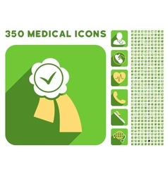 Validation Seal Icon and Medical Longshadow Icon vector