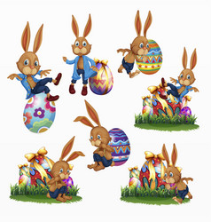 variety easter rabbits set vector image