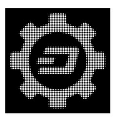 White halftone dash options gear icon vector
