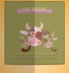 With nature and hipster cow vector