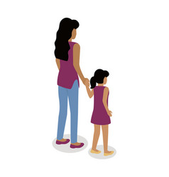 Woman with girl isometric projection icon vector