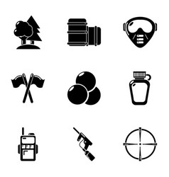 Woodland training icons set simple style vector