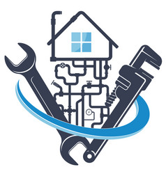 Wrench and water pipes house plumbing repair vector