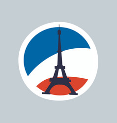 eiffel tower isolated on multicolored background vector image