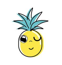 Kawaii cute funny pineapple vegetable vector