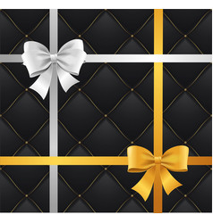 Realistic 3d detailed silk ribbon bow and quilted vector