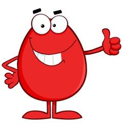 Red Easter Egg Cartoon Character Showing Thumbs Up vector image