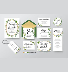 Wedding floral invite menu rsvp thank you set vector