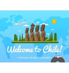 Welcome to Chile poster with famous attraction vector image vector image