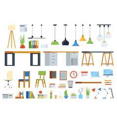 office furniture accessories and plants creation vector image
