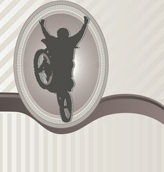 ornament frame and motorcycle vector image