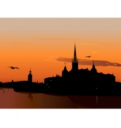 silhouette of Stockholm at sunset vector image vector image