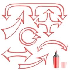Arrows painted felt-tip pen for your design vector