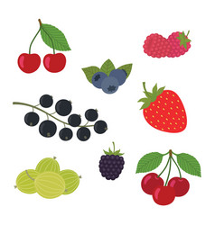 berries set strawberry vector image