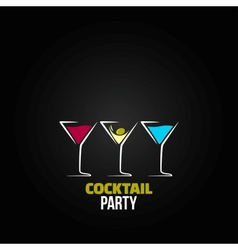 cocktail party glass design menu background vector image
