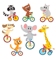 cute little animal characters riding unicycle vector image vector image
