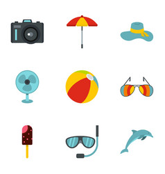 elements of beach rest and activity icons set vector image