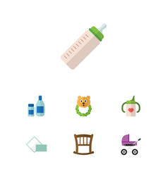 Flat child set of cream with lotion stroller vector