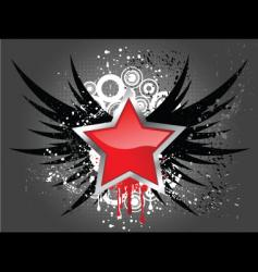 glossy star on grunge wings vector image