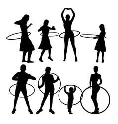 hula hoop dancer activity silhouettes vector image vector image