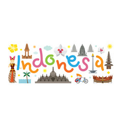 Indonesia travel attraction vector