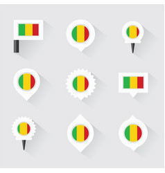 mali flag and pins for infographic and map design vector image vector image