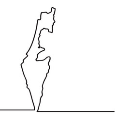 map of israel continous line vector image vector image