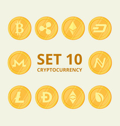 set virtual currency icons trading signs on a vector image vector image