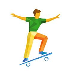 Skateboarder jump on skateboard isolated on white vector