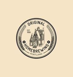 vintage old brewery logo kraft beer label vector image vector image