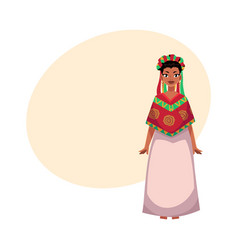 mexican woman in national clothes serape and vector image