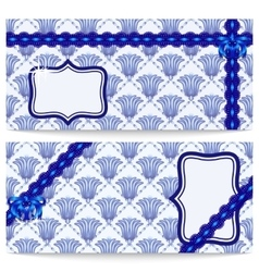 Set template greeting or gift cards with blue vector image