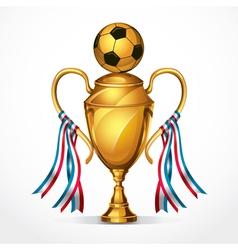Soccer golden award trophy and ribbon vector image vector image