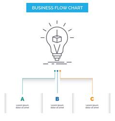 3d cube idea bulb printing box business flow vector