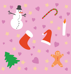 a christmas background pattern with pink vector image