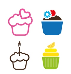 A set of colored cakes vector image