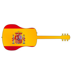 acoustic guitar silhouette with spanish national vector image