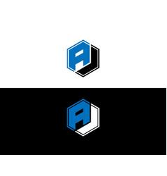 Aj letter logo design template vector