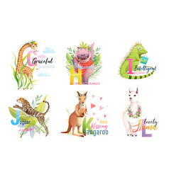 animals abc alphabet school collection for kids vector image