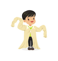 Ark haired boy wearing dult oversized clothes vector
