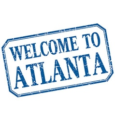 Atlanta - welcome blue vintage isolated label vector