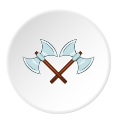 Battle axes with two tips icon cartoon style vector