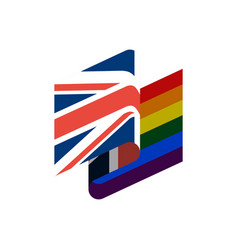British and lgbt flag symbol of tolerant united vector