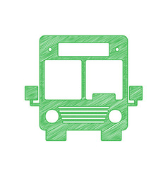Bus sign green scribble icon with vector